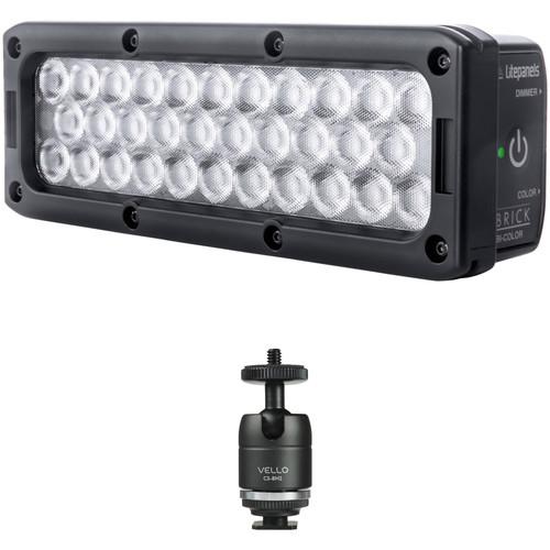 Litepanels Brick Bi-Color On-Camera LED Light Kit with Shoe-Mount Ball Head