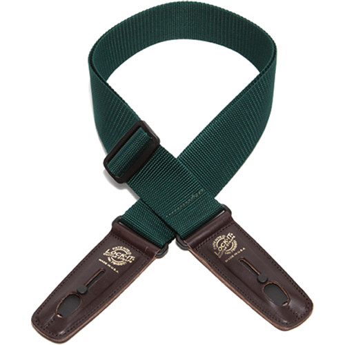 "Lock-It 2"" Professional Gig Series Guitar Strap (Hunter Green, Brown Ends)"