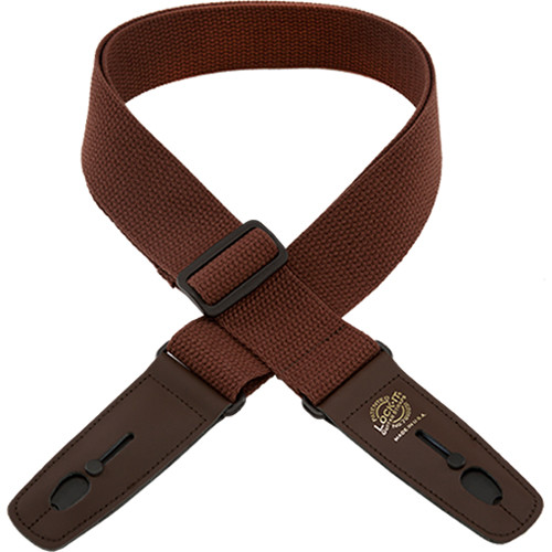"Lock-It 2"" Cotton Series Guitar Strap (Brown, Brown Ends)"
