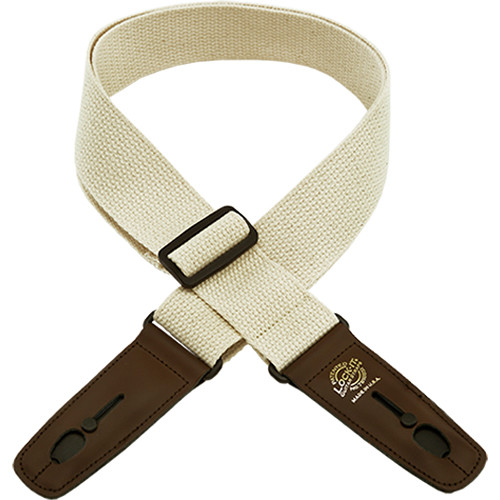 "Lock-It 2"" Cotton Series Guitar Strap (Natural, Brown Ends)"