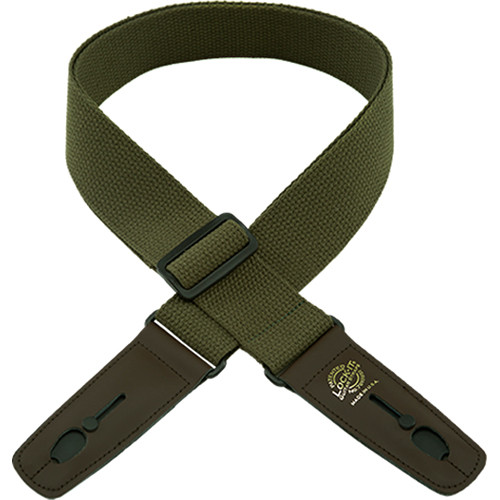 "Lock-It 2"" Cotton Series Guitar Strap (Olive, Brown Ends)"