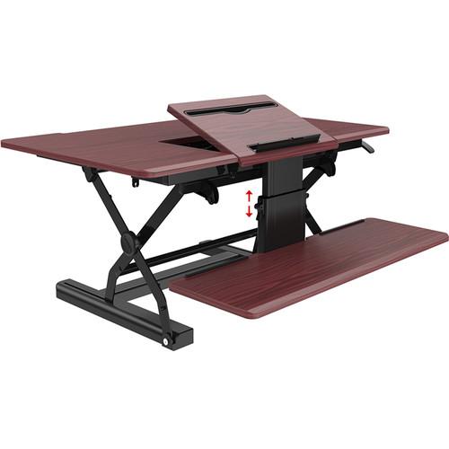 "Loctek 36"" Sit-Stand Riser (Mahogany)"