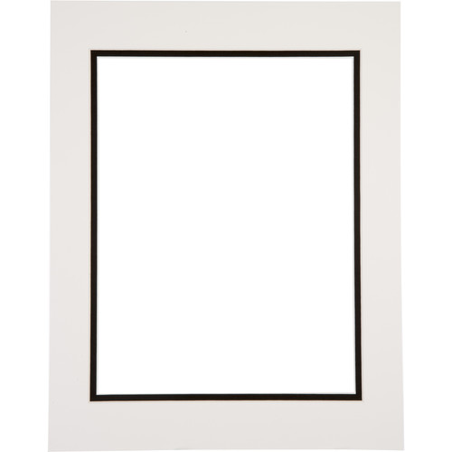 "Logan Graphics 11 x 14"" Double Mat Frame with 8.5 x 10.5"" Opening (Seashell White/Smooth Black)"