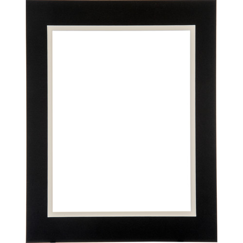"Logan Graphics 11 x 14"" Double Mat Frame with 8.5 x 10.5"" Opening (Smooth Black/Seashell White)"