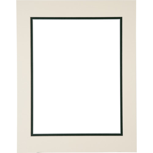 "Logan Graphics 11 x 14"" Double Mat Frame with 8.5 x 10.5"" Opening (Antique White/Forest Shadow)"