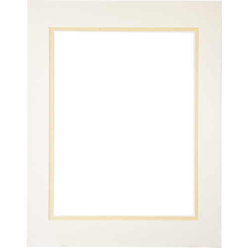 "Logan Graphics 11 x 14"" Double Mat Frame with 8.5 x 10.5"" Opening (Seashell White/French Vanilla)"