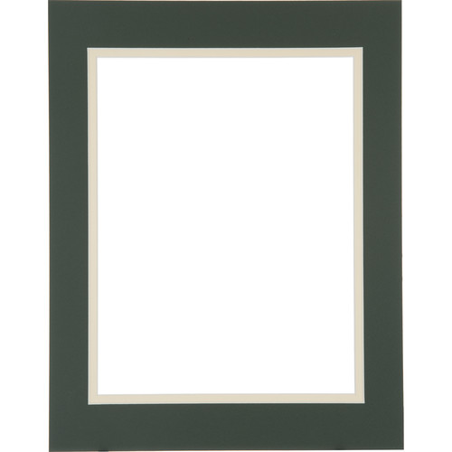 "Logan Graphics 11 x 14"" Double Mat Frame with 8.5 x 10.5"" Opening (Forest Shadow/Creme)"