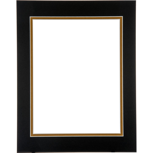 "Logan Graphics 11 x 14"" Double Mat Frame with 8.5 x 10.5"" Opening (Smooth Black/Olde Gold)"