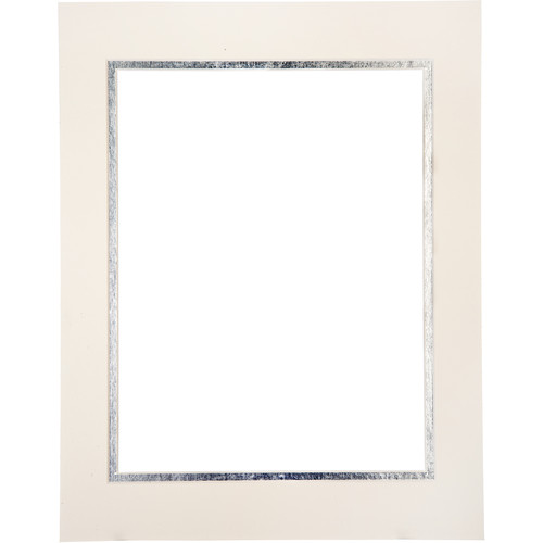 """Logan Graphics 11 x 14"""" Double Mat Frame with 8.5 x 10.5"""" Opening (Seashell White/Burnished Silver)"""