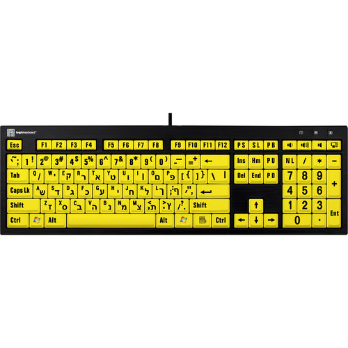 LogicKeyboard XL Print NERO PC Slimline Large Print American English and Hebrew Keyboard (Black On Yellow)