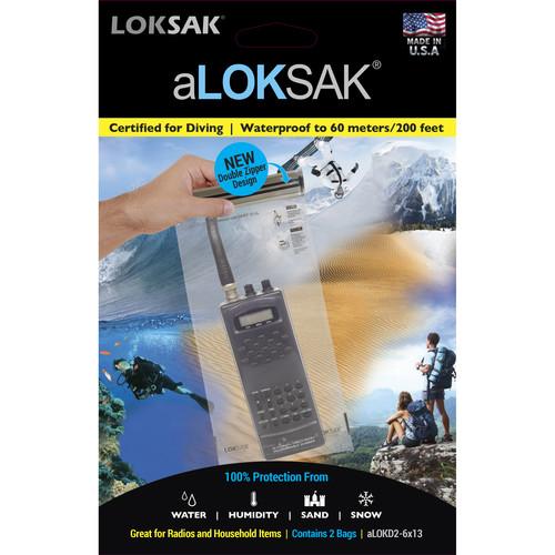 "LOKSAK aLOKSAK Waterproof Bags - 6 x 13"" (2-Pack)"