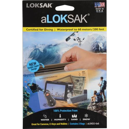 "LOKSAK aLOKSAK Waterproof Bags - 6 x 6"" (2-Pack)"