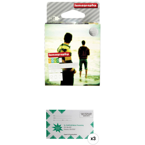 Lomography X-Pro Slide 200 Color Transparency Film with Processing Mailer Kit (120 Roll Film, 3-Pack)