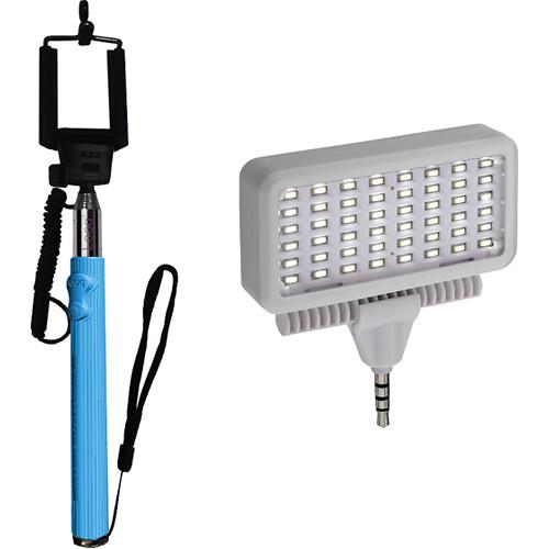 Looq DG Selfie Arm with Mobile LED Light Set Kit (Blue)