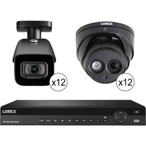 Lorex 32-Channel 4K UHD NVR with 8TB HDD, 12 4K Night Vision Dome Cameras & 12 4K Night Vision Bullet Cameras