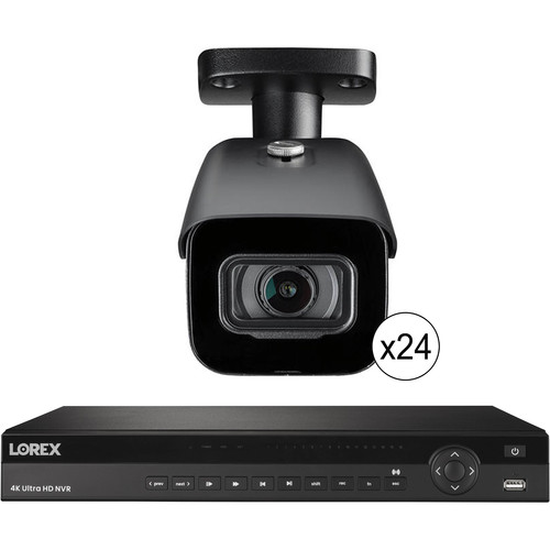 Lorex 32-Channel 4K UHD NVR with 8TB HDD & 24 4K Outdoor Night Vision Bullet Cameras