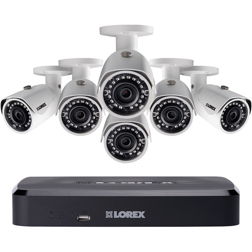 Lorex 8-Channel 4MP NVR with 2TB HDD and 6 3MP Outdoor Night Vision Bullet Cameras