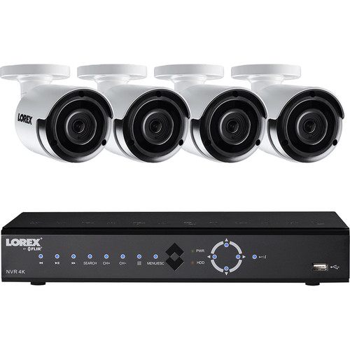 Lorex by FLIR 8-Channel 4K NVR With 2TB HDD And 4 Color Night Vision 4MP Ultra HD Security Cameras
