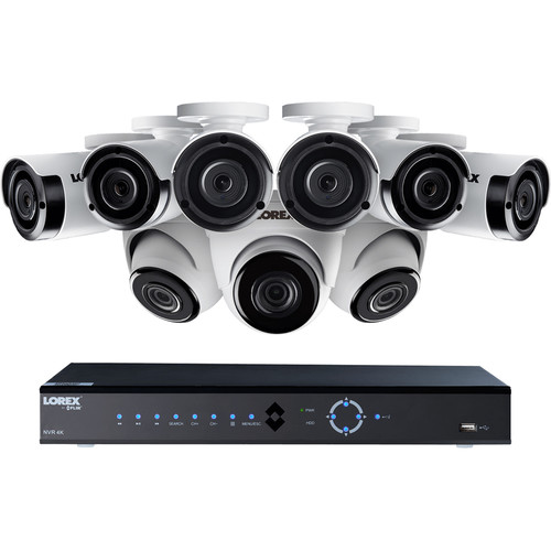 Lorex 16-Channel 4K UHD NVR with 3TB HDD, 6 4MP Bullet & 3 4MP Dome Cameras with Night Vision