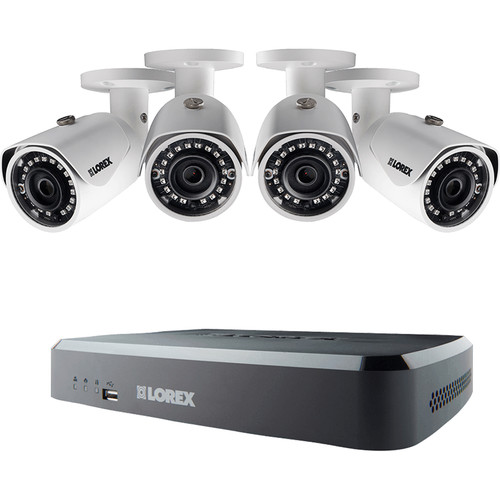 Lorex by FLIR 8-Channel 4MP NVR with 2TB HDD and 4 3MP Outdoor Night Vision Bullet Cameras