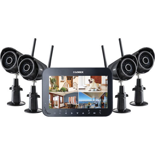 "Lorex by FLIR 4 VGA Day/Night IR Wireless Cameras with 3.6mm Fixed Lens and 7"" Monitor"