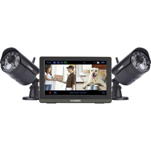 """Lorex by FLIR 2 720p Day/Night IR Wireless Bullet Cameras with 3.6mm Fixed Lens and 7"""" Monitor"""