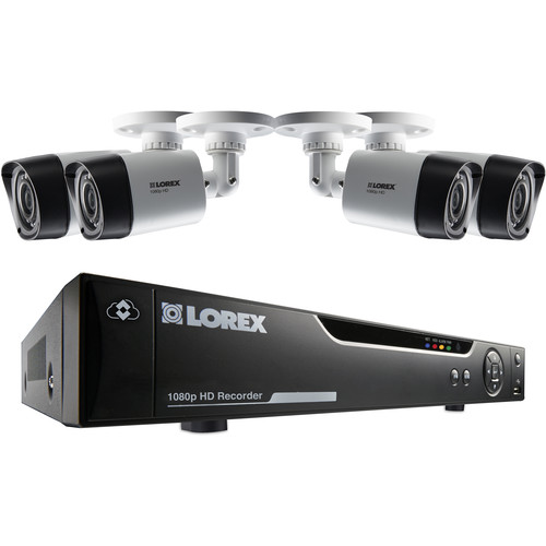 Lorex by FLIR 4-Channel 1080p DVR with 1TB HDD and 4 1080p Bullet Cameras