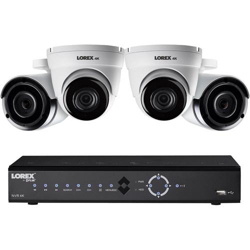 Lorex 8-Channel 4K UHD NVR with 2TB HDD, 2 4K Night Vision Bullet Cameras & 2 4K Night Vision Dome Cameras