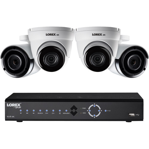 Lorex 8-Channel 4K UHD NVR with 2TB HDD, 2 4K Night Vision Bullet Cameras & 2 4K Night Vision Dome Cameras