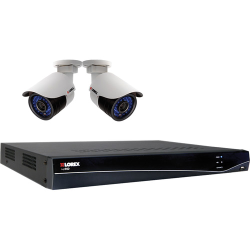 Lorex by FLIR LNR300 4-Channel 1TB HDD NVR with Two Outdoor IP Bullet Cameras
