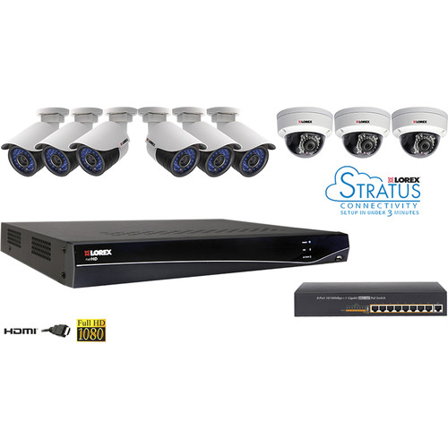 Lorex by FLIR LNR300 16-Ch 3TB NVR Kit with POE Switch and 9 IP Cameras