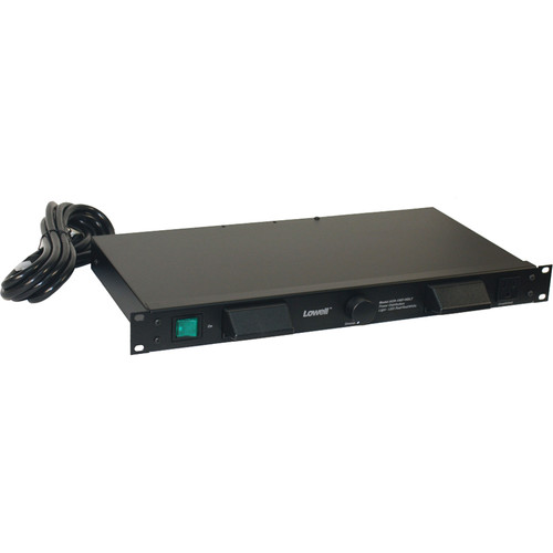 Lowell Manufacturing Rackmount Light Panel With 120-VAC 15A Power, 7 Outlets, 9' Cord, Hooded Lights, Night-Vision LEDS