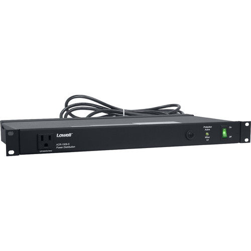 Lowell Manufacturing Power Panel-15A, 9-Outlets, 1U, 9' Cord, 1-Stage Surge Suppression with 1 LED, ETL Listed