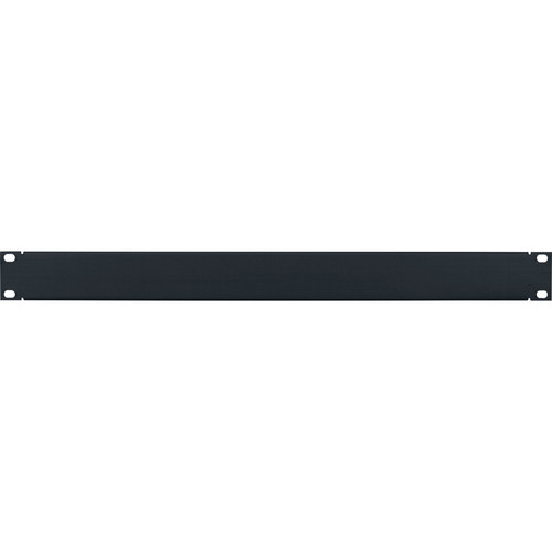 Lowell Manufacturing Rack Panel-Blank-1U, Flanged (Brushed Black Anodized Aluminum)