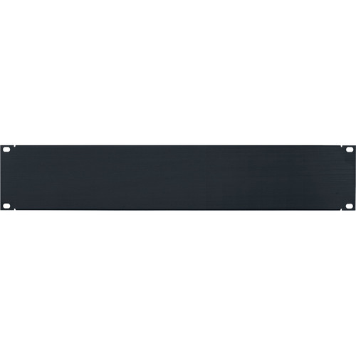 Lowell Manufacturing Rack Panel-Blank-2U, Flanged (Brushed Black Anodized Aluminum)