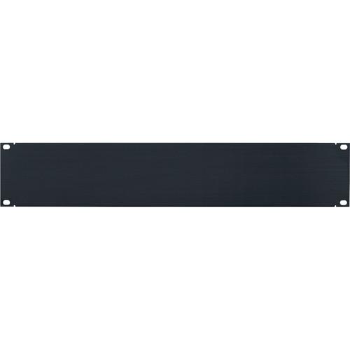 Lowell Manufacturing Rack Panel-Blank-2U, Flanged (Brushed Black Anodized Aluminum)