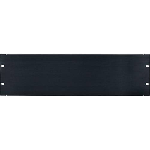 Lowell Manufacturing Rack Panel-Blank-3U, Flanged (Brushed Black Anodized Aluminum)