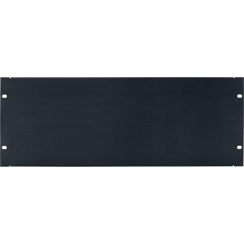 Lowell Manufacturing Rack Panel-Blank-4U, Flanged (Brushed Black Anodized Aluminum)