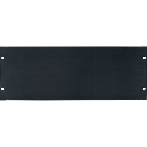 Lowell Manufacturing Rack Panel-Blank-4U, Flanged (Brushed Black Anodized Aluminum)
