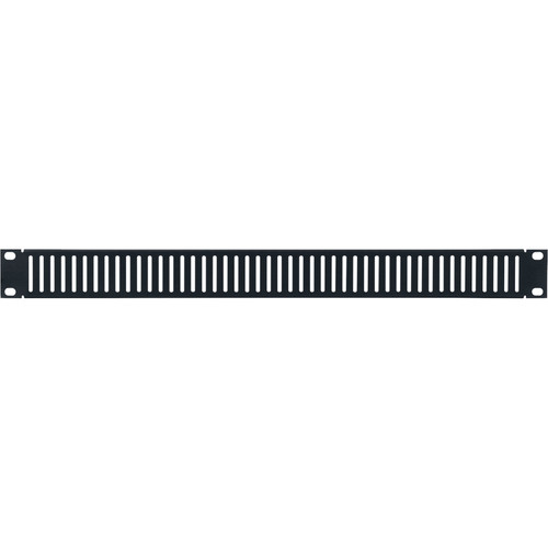 Lowell Manufacturing Rack Panel-Blank-1U, Vented/Slotted (Brushed Black Anodized Aluminum)