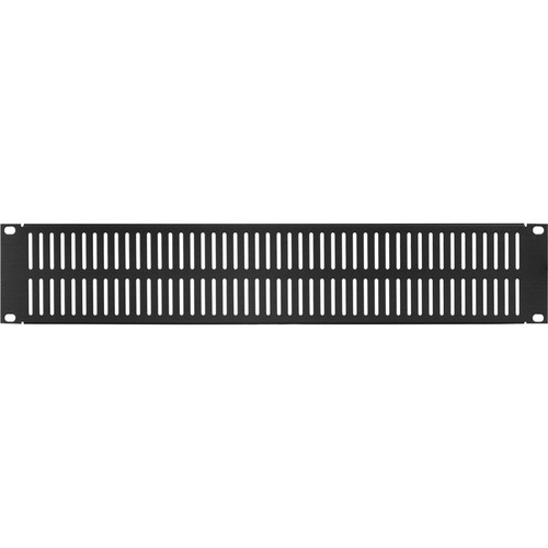 Lowell Manufacturing Rack Panel-Blank-2U, Vented/Slotted (Brushed Black Anodized Aluminum)