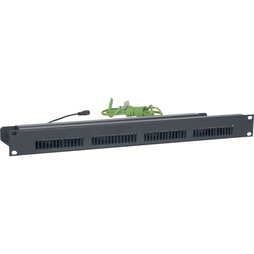 "Lowell Manufacturing Rackmount Panel with Blower Fans, 19"" x 1U, 4 Fans (3.5"") with Guards, 90CFM, Thermo-Probe"