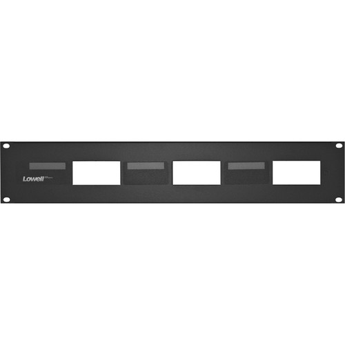 Lowell Manufacturing Rack Panel-Decorator-2U, Mounts 3 Devices, 16GA Flanged Steel (Black)