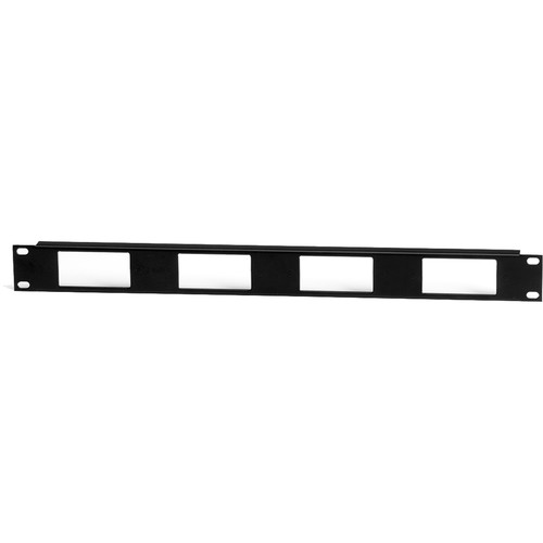 Lowell Manufacturing Rack Panel-Decorator-1U, Mounts 4 Devices, 16GA Flanged Steel (Black)