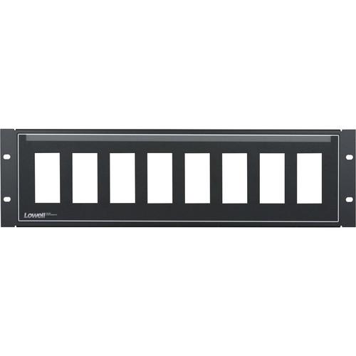 Lowell Manufacturing Rack Panel-Decorator-3U, Mounts 8 Devices, 16GA Flanged Steel (Black)