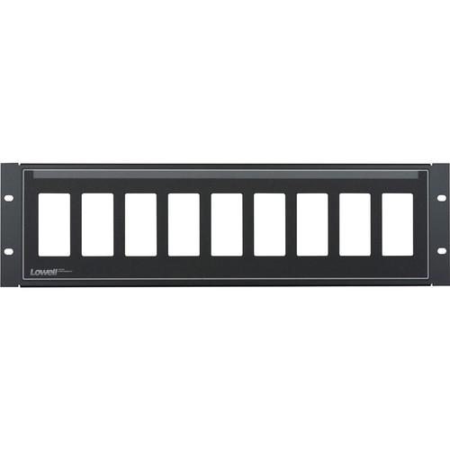 Lowell Manufacturing Rack Panel-Decorator-3U, Mounts 9 Devices, 16GA Flanged Steel (Black)