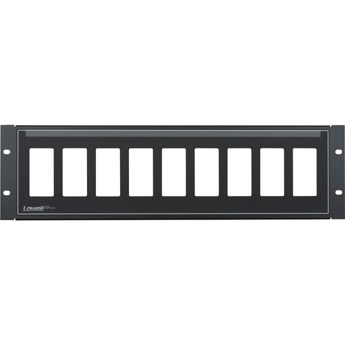 Lowell Manufacturing Rack Panel-Decorator-3U, Mounts 9 Devices, 16GA Flanged Steel (Black)