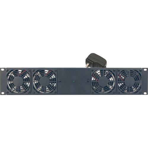 "Lowell Manufacturing DC Fan Panel: 2U, 4-3.15""n Fan,Universal Power Supply/4 Adaptors/Thermostat Probe"