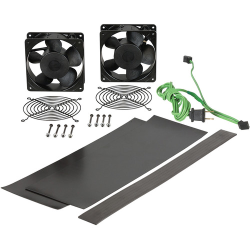 """Lowell Manufacturing Fan Kit : 2-4.7"""" Whisper Fans, 50CFM Each, Fan Guards, Thermostat Cord, Vent Blockers for Lower Rack"""