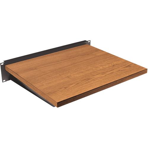 Lowell Manufacturing Rack Keyboard/Writing Shelf: 2U -Oak Wood Laminate (Black)
